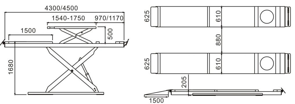 SHL-Y-J-35CBL Ultrathin Double Level Scissor Lift for Four Wheel Alignment
