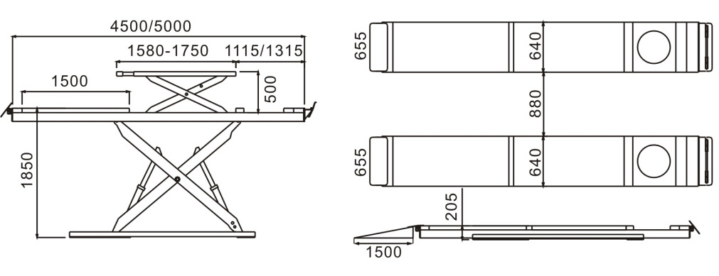 SHL-Y-J-45CBL/50CBL Ultrathin Double Level Scissor Lift for Four Wheel Alignment
