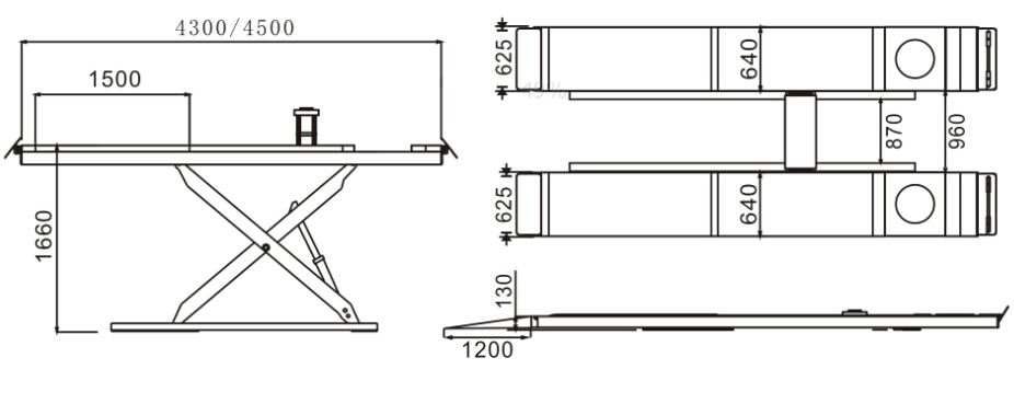 SHL-Y-J-35CCX/45CCX/50CCX Ultrathin Scissor Lift for Four Wheel Alignment(With Trolley)