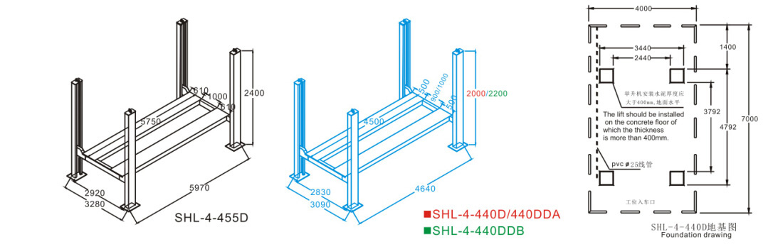 SHL-4-440D/440DDA/440DDB Four Post Lift for Wheel Alignment