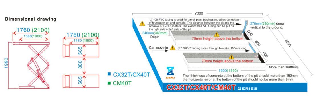 CX32T/CX40T/CM40T Small/middle Platform Scissor Lift(Square Tube Type)