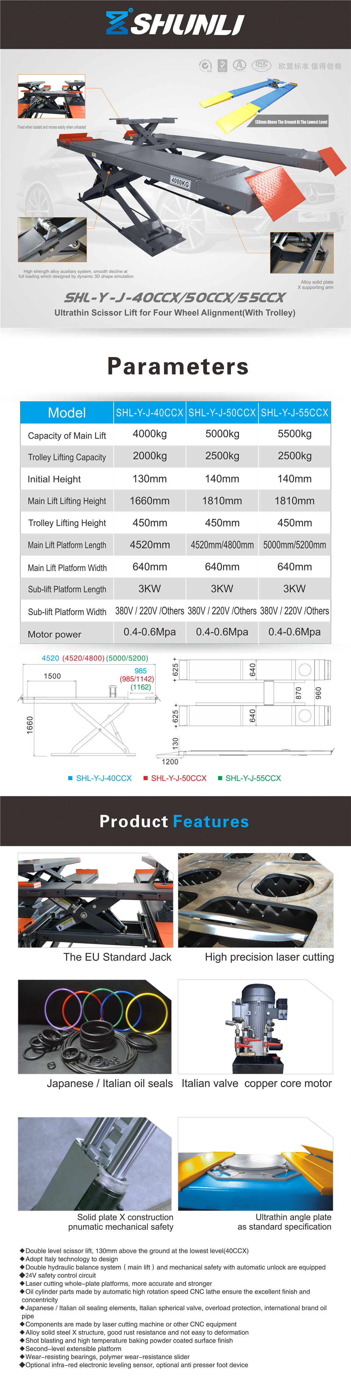 SHL-Y-J-40CCX/50CCX/55CCX Ultrathin Scissor Lift for Four Wheel Alignment(With Trolley)